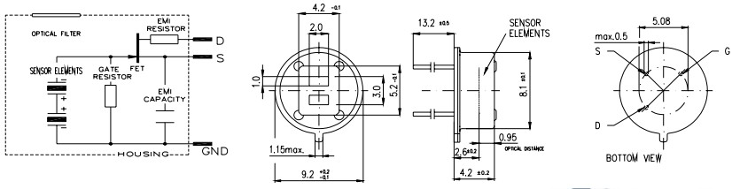 热释电红外传感器LHI968 热释电红外线感测器是利用温度变化的特征来探测红外线的辐射,采用双灵敏元互补的方法抑制温度变化产生的干扰,提高了感测器的工作稳定性。产品应用广泛,例如,保险装置,防盗报警器,感应门,自动灯具,智慧玩具等。 型 号:LHI968 封 装:TO-5 红外接收电极:2.